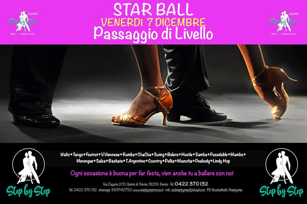 Invito alla festa danzante del 7 dicembre 2018 alla scuola di ballo Step by Step di Treviso.